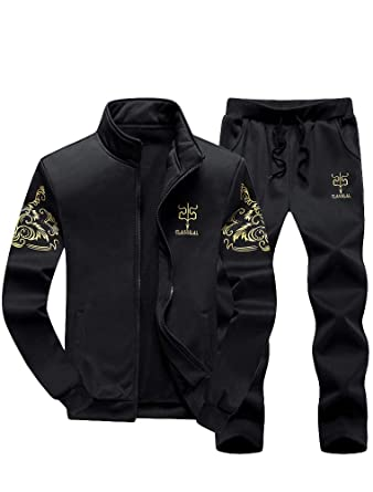 aa9f3853e73d PASOK Men s Casual Tracksuit Full Zip Running Jogging Athletic Sports Jacket  and Pants Set S Black