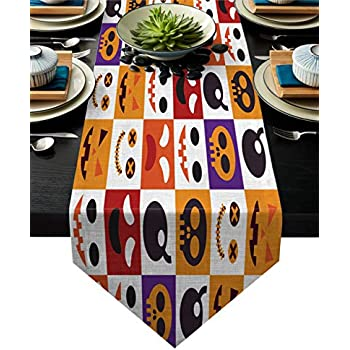 Linen Burlap Table Runner Dresser Scarves, Halloween Element Funny Pattern Kitchen Table Runners for Dinner Holiday Parties, Wedding, Events, Decor - 13 x 70 Inch