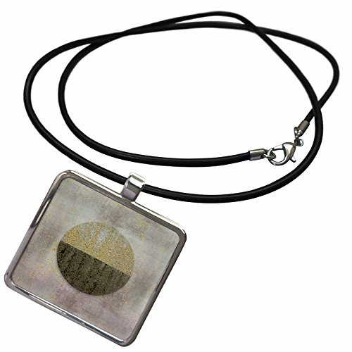 Art Illustration - Image of Circular Graphic With Shimmering Metal Particles - Necklace With Rectangle Pendant (ncl_274739_1) (Graphic Image Jewelry)