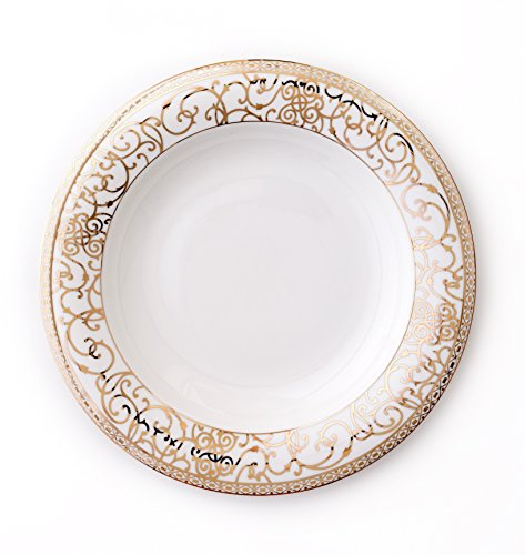 CRU by Darbie Angell Athena 24Kt Rim Soup, Gold/White