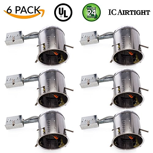 Sunco Lighting 6 PACK - 6' inch Remodel LED Can Air Tight IC Housing LED Recessed Lighting- UL Listed and Title 24 Certified, TP24