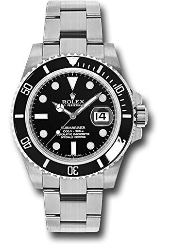 Rolex Oyster Perpetual 40MM Stainless Steel Submariner Date With a Rotable Black Cerachrom Time Lapse Bezel And a Black Index Dial with a Date Wheel.