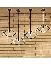 Fish-shaped Lampadari, Ferro Soffione a testa singola Lampada da soffitto a luce creativa per camera da letto Cafe