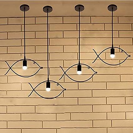 En forma de pez Candelabros, lámpara de techo de creatividad de hierro con una sola cabeza y luz de suspensión para café de dormitorio,E27