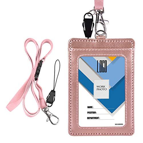 (Badge Holder, Wisdompro 2-Sided PU Leather ID Badge Card Holder Wallet Case with 1 Clear ID Window & 1 Credit Card Slot and 22 Inch Quick Rlease Detachable Neck Lanyard/Strap)