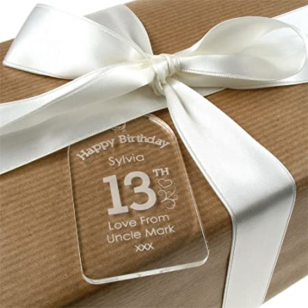 Personalised 13th Birthday Acrylic Gift Tag For Her Unique