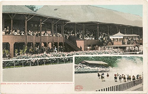 - Historic Pictoric Postcard Print | Grand Stand, Exciting finish at the Race Track, Saratoga, N. Y, 1898 | Vintage Fine Art