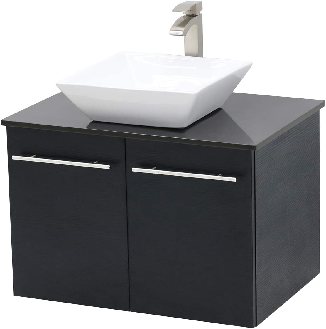 WindBay Wall Mount Floating Bathroom Vanity Sink Set. Black Vanity, Black Flat Stone Countertop Ceramic Sink – 24
