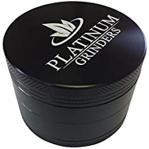 Platinum Grinders #1 Best Herb Grinder with Pollen Catcher - Large 2.5 Inch 4 Piece Black Aluminum