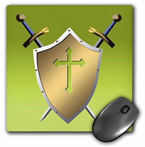3d Rose 'Shield con Cruzado Espadas y la cruz cristiana y el fondo en Earls Verde de oro Acabado Mate Alfombrilla de...