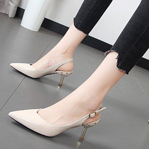 vacía mujer Blanco sandalias Baotou zapatos profesional la tacón día viaje de después un Xue bien punta de funcionan retro con aguja Zapatos Qiqi con de está 4Wnww6xtq