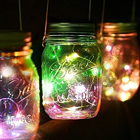 Solar Mason Jar Lights, 3 PCS Fairy String Lights Firefly Lighting Hanging Lantern Switch Lid Insert Lamp for Garden Deck Patio Wedding Holiday Décor (Mason Jar and Handle - Carmel Bar Table