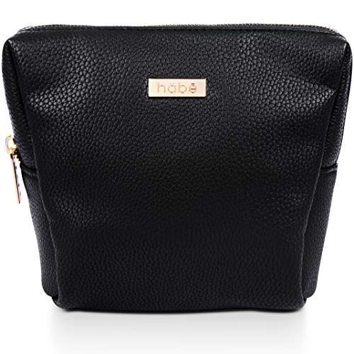 häbe Petite Makeup Bag, Vegan Leather Small Cosmetic Bag, Gorgeous Detailing, Unbreakable Zipper, Designer Makeup Bags for Women, Mini Makeup and Pencil Pouch with Hidden Storage Pockets, 7x6x3