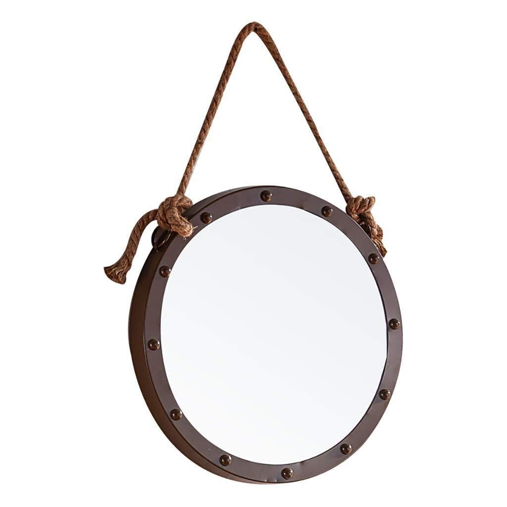 Beauty mirror Bathroom Mirrors Wall Vanity Mirror Iron Framed Makeup Mirror with Linen Lanyard Wall Hanging Fixing Hardware For Bathroom Washroom Hallway Ø520MM Dressing mirror (Color : Brown) by Makeup Mirrors