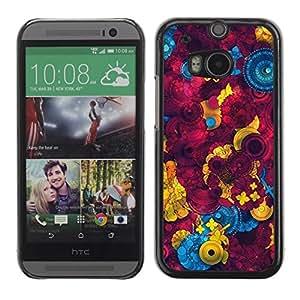 Be Good Phone Accessory // Dura Cáscara cubierta Protectora Caso Carcasa Funda de Protección para HTC One M8 // Sewing Abstract Maroon