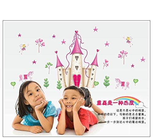 Xiton Wall Stickers Art Grande Principessa delle Fate Castello Wall Stickers Wall Decals Bambini Camera Nursery