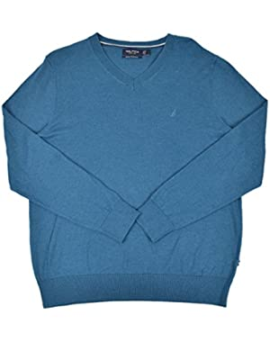 Men's Luxury Performance Ribbed V-Neck Sweater Mystic Jade Heather Large