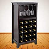 ZENY Wooden Wine Cabinet with Glass Rack Buffet & Storage Cabinet,Darker Brown