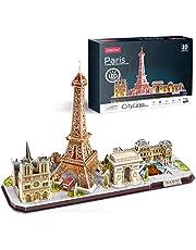 CubicFun 3D Puzzels voor Kinderen Volwassenen LED Parijs City Architecture Model Kits, Eiffeltoren, Notre Dame de Paris, Het Louvre, Arc de Triomphe Jigsaw Puzzels Verjaardagscadeaus voor Jongens Meisjes Haar Hem