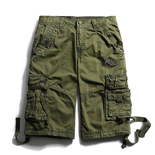 OCHENTA Men's Cotton Loose Fit Multi Pocket Cargo Shorts #3233 Army Green 40