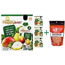 Nurture Inc. (Happy Baby), Organic Baby Food, Spinach, Mangos & Pears, 4 Pack - 4 oz (113 g)( 4 PACK )+ Eden Foods, Selected, Dried Cherries Montmorency Tart, 4 oz (113 g)