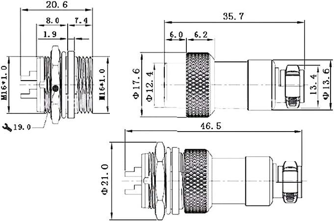 5satz 2//3-8//9//10Pin QL16 Wasserdichter Luftfahrtstecker Sensor Encoder