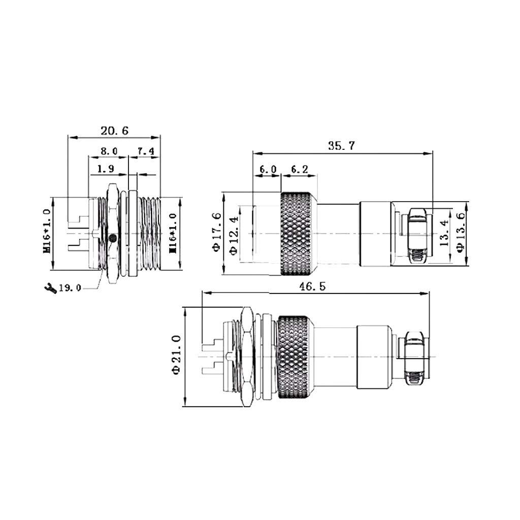 1 Juego GX16 Acoplamiento Conector de aviaci/ón a Prueba de Agua codificador Conector Conector codificador -5PIN YoungerY