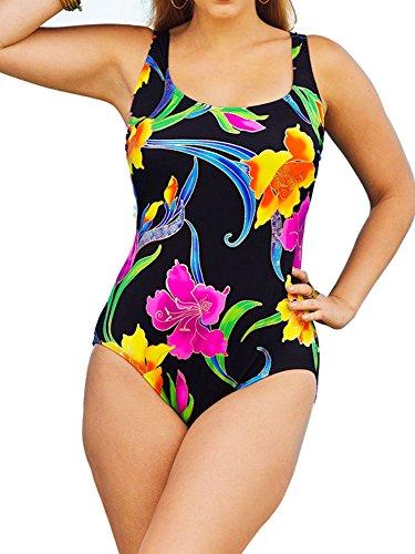 Longitude Women's Plus Size Canton One Piece Swimsuit Floral Black (18W)