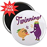 CafePress - Emoji Eggplant And Peach T - 2.25'' Magnet (100 pack)
