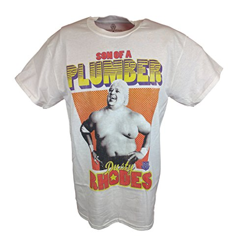 Dusty Rhodes Son of a Plumber WWE Mens White T-shirt-L by WWE