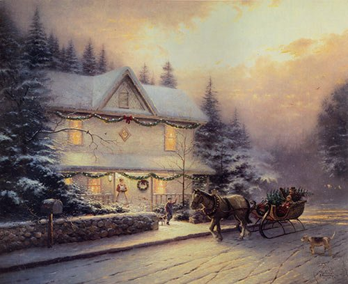 Winter White House Snow Christmas Santa On The Wagon Fashion Wall Art Oil Painting Home Decoration On Canvas