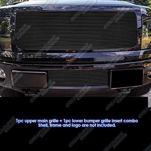 - APS Fits 2009-2014 Ford F-150 Reg Model Solid Black Billet Grille Combo #F81243H