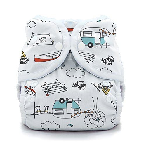 - Thirsties Duo Wrap Cloth Diaper Cover, Snap Closure, Happy Camper Size One (6-18 lbs)