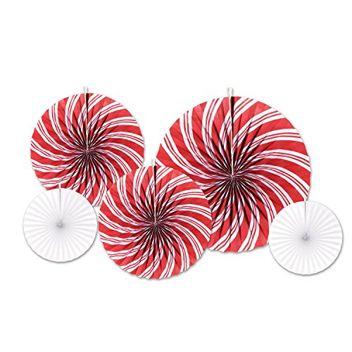 (Party Central Pack of 60 Assorted Red and White Peppermint Accordion Fans Christmas Decorations)