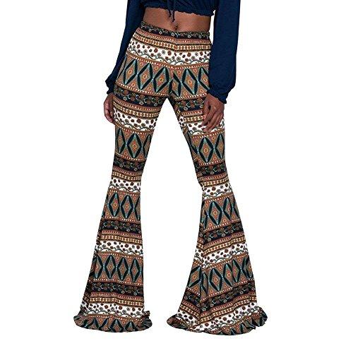 The Style Gelb Haute Pantalons Évasé Ethniques Hit De Imprimés Taille Pour Confortable Vintage Vêtements Slim Longues Elegant Femmes Base Mode Fit PqIRwHAxd0