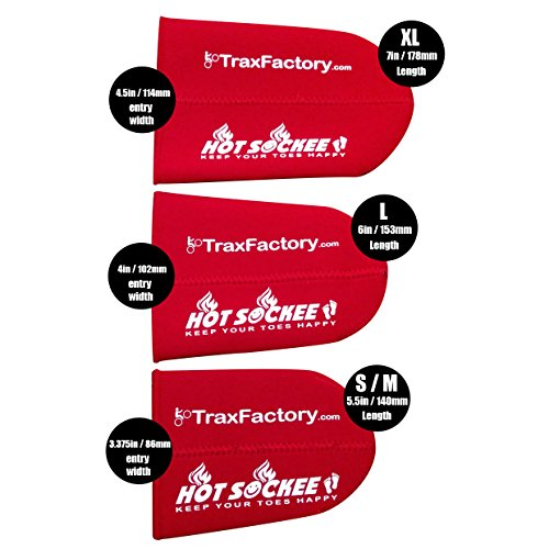 Trax Factory Hot Sockee 1.5mm Thermal neoprene toe warmer goes inside your shoe or boot. Three sizes for cycling, hiking or any winter sports work boots