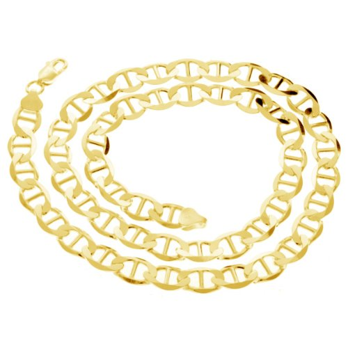 925 Solid Sterling Silver Mariner Chain 24 Inches 8 mm 14K Gold Plated 41 Grams