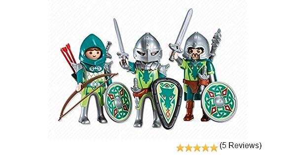 PLAYMOBIL 7973 - 3 Caballeros del Dragón Verde: Amazon.es: Juguetes y juegos