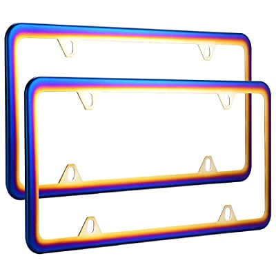 Deselen Chrome Chameleon License Plate Frame, Rainbow Flowery Bluing, Pack of 2: Automotive
