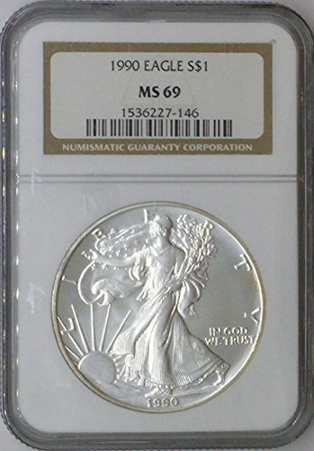 1990 American Eagle $1 MS69 NGC Silver Dollar Old US Coin 90% Silver