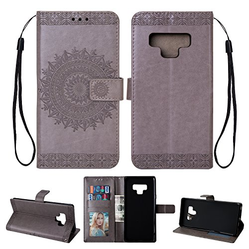 - Leather Wallet Case for Samsung Galaxy Note 9,Yobby Samsung Galaxy Note 9 Gray Case Embossed Mandala 3D Pattern Slim Premium PU Flip Cover [Magnetic Closure] with Card Slots/Wrist Strap/Stand