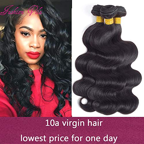- 10A Brazilian Virgin Hair Body Wave Bundles 300g 100% Unprocessed Human Hair Weaves 3 Bundles Brazilian Body Wave Human Hair Extension Natural Black (16 18 20)