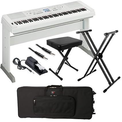 Amazoncom Yamaha Dgx 650 White Stage Bundle W Keyboard