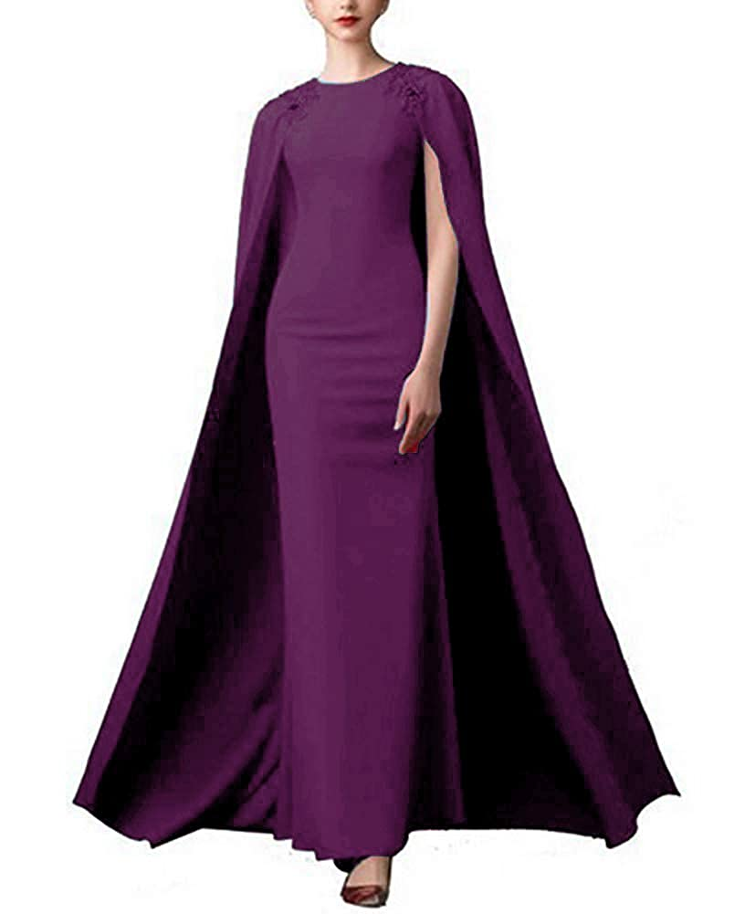 Grape Lnxianee Women's Long Beaded Formal Gown Prom Evening Dresses with Cape