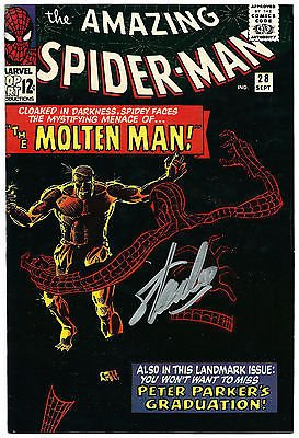 STAN LEE HAND SIGNED SPIDERMAN #28 COMIC BOOK MOLTEN MAN! PSA/DNA LOA V07831