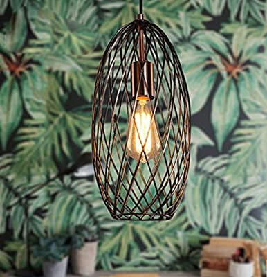 FOSHAN MINGZE 1-light Lantern Pendant Light,Antique Coppered Finished Long Metal Cage Chandelier Ceiling Light Fixture for Dining Room/Kitchen/Restaurant/Cafe