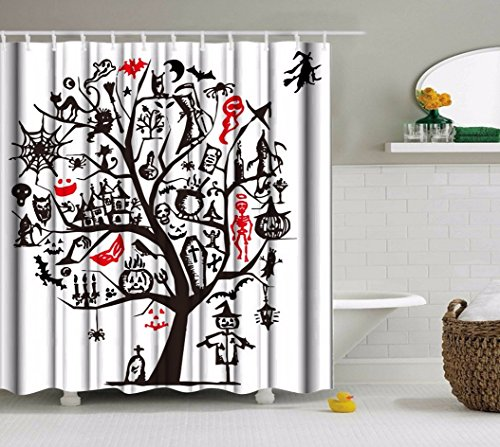 A.Monamour Halloween Holiday Themed Hand Drawing Sketch Tree Gothic Spooky Skull Pumpkin Cat Witch Elements Print Waterproof Mildew Resistant Fabric Shower Curtain 180x180 cm / 72X72 (Halloween Cat Sketch)