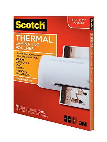 Large Product Image of Scotch Thermal Laminating Pouches, 8.9 x 11.4-Inches, 5 mil thick, 50-Pack (TP5854-50)