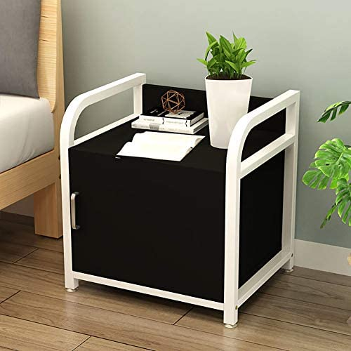 KTOL 55cm Modern Metal Frame Nightstand,Nordic Creative Sofa Side End Table with Door Large Capacity Storage Shelf Non-Slip Bedside Furniture Open Shelf Bedroom Accessories Multifunction