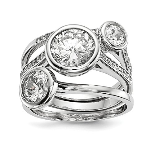 925 Sterling Silver Cubic Zirconia Cz 3 Band Ring Set Size 6.00 Fine Jewelry Gifts For Women For Her